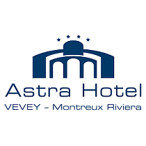 Logo Astra Hotel blue and white